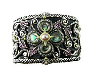 Barbara Bixby Sterling/18K Gemstone & Leather Cuff Small - J281093