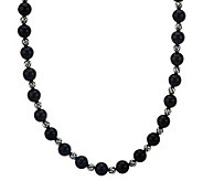 Carolyn Pollack Silver Rodeo 21-1/4 Onyx Bead Necklace Sterling - J275195