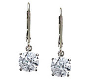 Epiphany Diamonique 100-Facet 4 cttw Round Lever Back Earrings - J112396