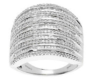 AffinityDiamond 1.00 ct tw Bold Multi-Row Baguette Ring, Sterling - J273296