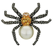 Joan Rivers Pave and Simulated Pearl Spider Pin - J268797