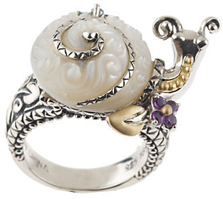 Barbara Bixby Sterling/18K Carved Mother-of-Pearl Snail Ring