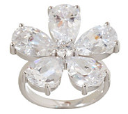 Diamonique Sterling 10.25 ct tw Pear Cut Flower Ring - J263498