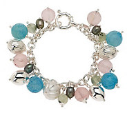 VicenzaSilver Sterling 7-1/4 Multi-gemstone Charm Bracelet with SmartClasp - J266598