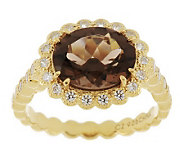 Erica Courtney 2.60 ct Smoky Quartz Nicole Ring, 14K Gold Clad - J271598