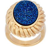 Oval Drusy Quartz Ring with ScallopedBorder 14K Gold - J265499