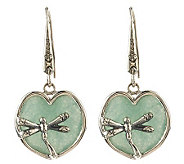 Artisan Crafted Sterling Green Quartzite Lily Pad Earrings - J267399