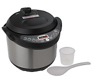 CooksEssentials 4qt Digital Stainless Steel Pressure Cooker w/ Hinged Lid - K34606