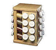 J.K. Adams Sugar Maple Carousel Spice Rack w/32Spice Bottles - K116381