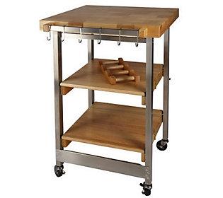 Folding Island Kitchen Cart W Butcher Block Top