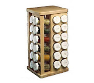 J.K. Adams Sugar Maple Carousel Spice Rack w/48Spice Bottles - K116383