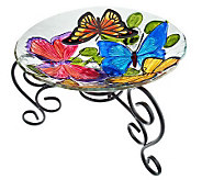Tabletop Glass Birdbath and Stand with Handpainted Finish - M29216
