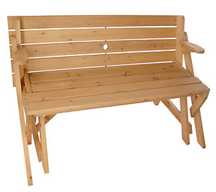 Solid Wood 2 In 1 Picnic Table Garden Bench Combination