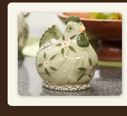 And Everything Nice  --  The perfect stovetop companion for all your salts and spices, this delightful holder will keep your ingredients fresh and add an adorable accent to your kitchen.  k29104+or+k29114 — Temp-tations Old World Figural Salt/Spice Holder
