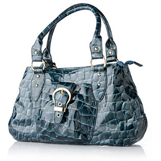 Charlie Lapson Leather Croc Effect Bag with Front Buckle