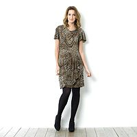 100823  Tiana B Animal Print Drape Neck Dress with Pleated Skirt