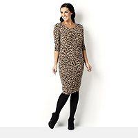 105724  34 Sleeve Printed Knit Dress by Nina Leonard