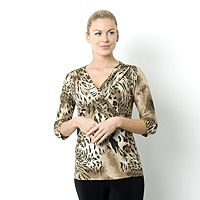 100125  Kim & Co Animal Chic Drape Collar Faux Wrap Top