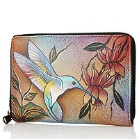 107241  Anuschka Hand Painted Zip Around Wallet