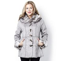 103651  Centigrade Faux Shearling Coat with Faux Horn Toggle Fastening