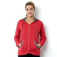 153854  Quacker Factory Hooded Top with Rhinestone and Animal Print Trim