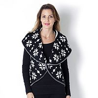 104155  Storybook Knits Snowflake Shawl Collar Reversible Knit Cardigan
