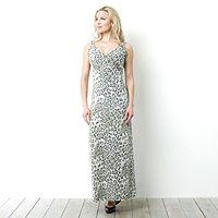 101467  Kim & Co Simply Leopard Double Strap Empire Line Maxi Dress