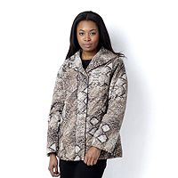 104898  Dennis Basso Animal Print Puffer Jacket Faux Fur Lining Upper