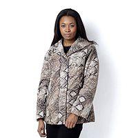 104898  Dennis Basso Animal Print Puffer Jacket Faux Fur Lining Upper
