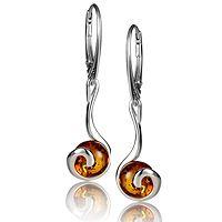 602704  Amber Round Swirl Drop Earrings Sterling Silver