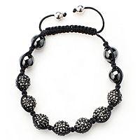 601111  Entice Crystal & Hematite Beaded Friendship Bracelet Sterling Silver