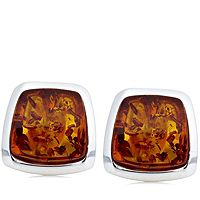 606511  Amber Square Stud Earrings Sterling Silver