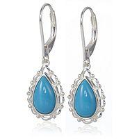 607114  Sleeping Beauty Turquoise Pear Drop Earrings Sterling Silver
