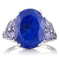 603618  9ct Lapis &  0.8ct Tanzanite Diamond Accent Ring 9ct White Gold