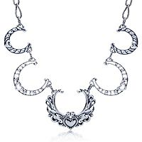 604831  South Western Horseshoe Heart Concha 49cm Necklace Sterling Silver