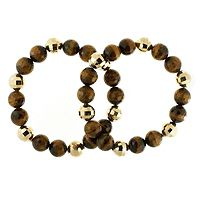 604635  Gem Discoveries African Tigers Eye Faceted 18cm Stretch Bracelet Bronze