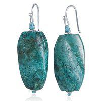 696442  Turquoise Drop Oval Earrings Sterling Silver