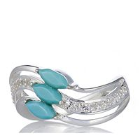 608646  Sleeping Beauty Turquoise 3 Stone Wave Ring Sterling Silver