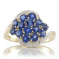 666847  1.6ct Nepalese Kyanite & Diamond Accent Bypass Ring 9ct Gold