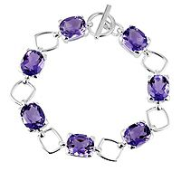 607850  4.1ct Amethyst Cushion Cut Bracelet Sterling Silver