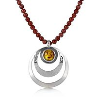 607854  Taxco Traditions Amber Open Pendant On Bead Necklace Sterling Silver
