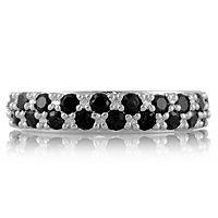 601956  Gemset Half Eternity Band Ring Sterling Silver