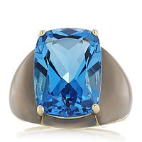 606885  16ct Ostroblue Topaz & Grey Agate Band Ring 9ct Gold