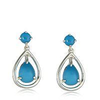 607486  Sleeping Beauty Turquoise Pear Drop Earrings Sterling Silver