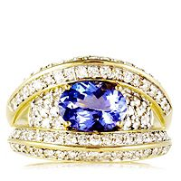 672792  1.3ct AAA Tanzanite & 0.7ct Diamond Band Ring 18ct Gold