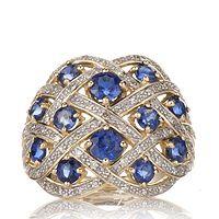 605993  1.75ct Nepalese Kyanite & 0.25ct Diamond Scatter Band Ring 9ct Gold