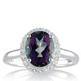 Mystic Topaz Oval Pave Surround Ring Sterling Silver