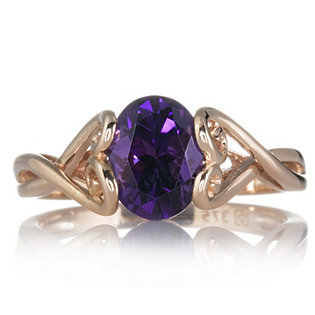 0.9ct Brazilian Amethyst Solitaire Ring (ct Rose Gold