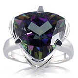 Mystic Topaz Fire Green Trillion Cut Ring Sterling Silver