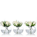 Kelly Hoppen Set of 3 Vase with 4 Cream Roses